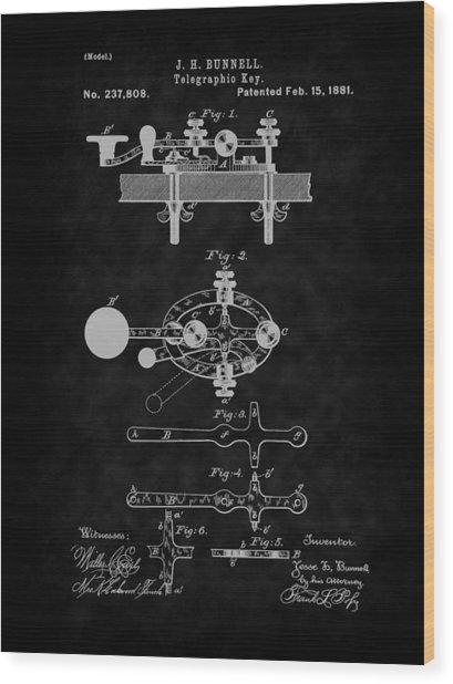 1881 Telegraph Key Patent Art-bk Wood Print