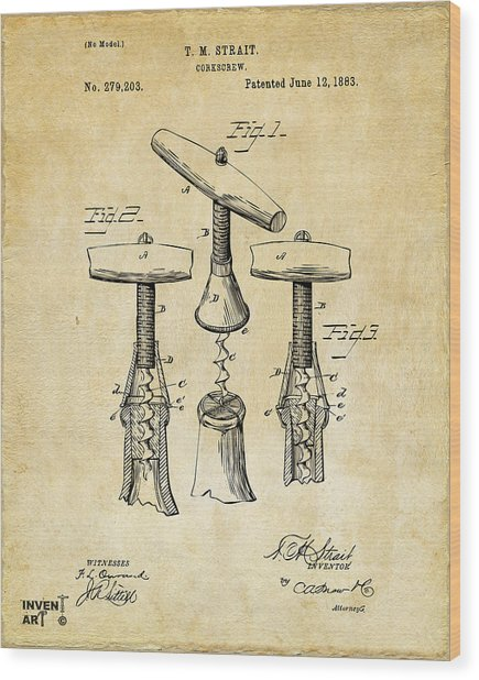1883 Wine Corckscrew Patent Art - Vintage Black Wood Print