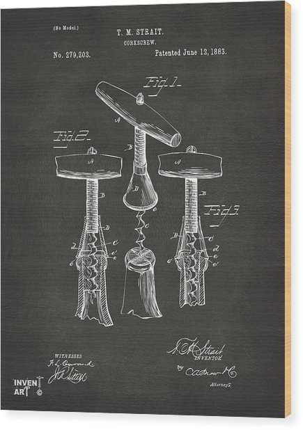 1883 Wine Corckscrew Patent Artwork - Gray Wood Print