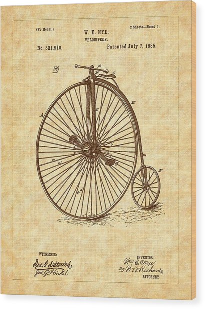 1885 Nye Velocipede Patent Wood Print by Barry Jones