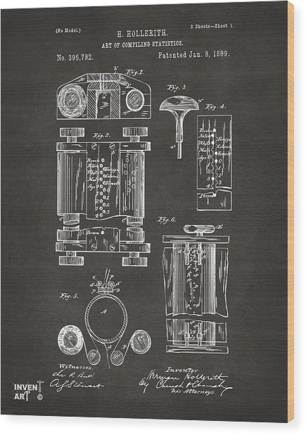 Wood Print featuring the digital art 1889 First Computer Patent Gray by Nikki Marie Smith