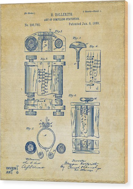 1889 First Computer Patent Vintage Wood Print