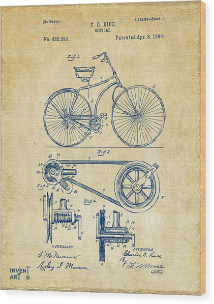 1890 Bicycle Patent Artwork - Vintage Wood Print