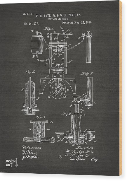 Wood Print featuring the digital art 1890 Bottling Machine Patent Artwork Gray by Nikki Marie Smith