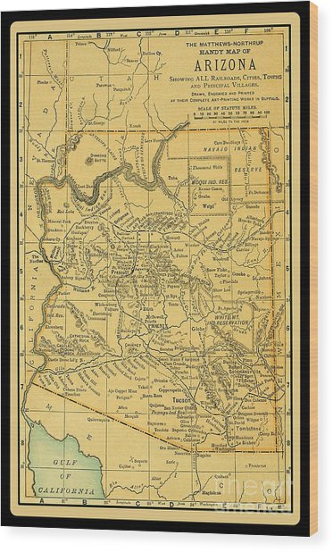1891 Arizona Map Wood Print