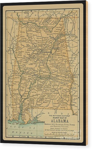 1891 Map Of Alabama Wood Print