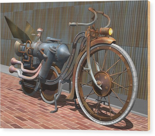 1899 Inline Steam Trike Wood Print