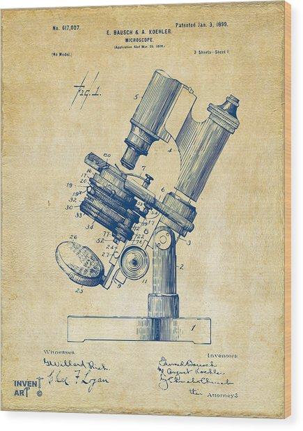 1899 Microscope Patent Vintage Wood Print