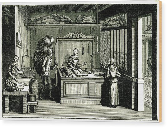 18th Century Bakery Wood Print by Collection Abecasis/science Photo Library