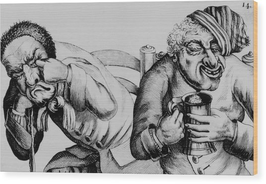 18th Century Engraving Of Alcoholics Wood Print