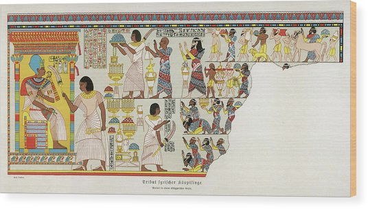 18th Dynasty  Syrian Chiefs Pay Tribute Wood Print by Mary Evans Picture Library