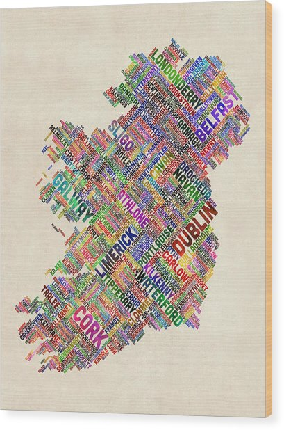 Ireland Eire City Text Map Wood Print by Michael Tompsett