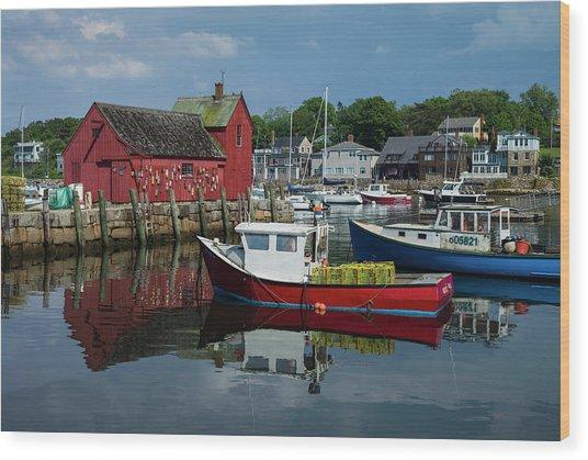 Usa, Massachusetts, Cape Ann, Rockport Wood Print by Walter Bibikow