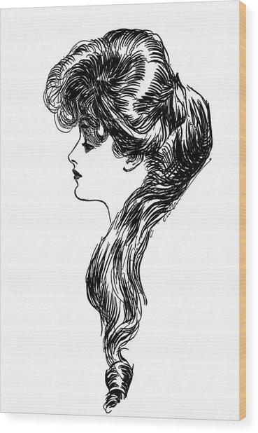 1900s 1898 Profile Sketch Turn Wood Print