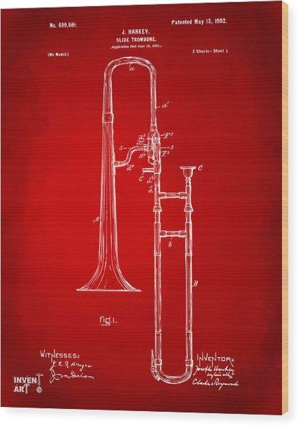 1902 Slide Trombone Patent Artwork Red Wood Print