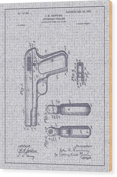 1903 Browning Automatic Pistol Patent Wood Print by Barry Jones