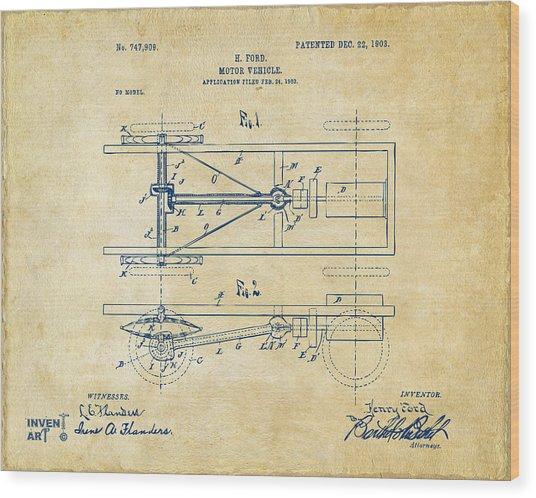1903 Henry Ford Model T Patent Vintage Wood Print