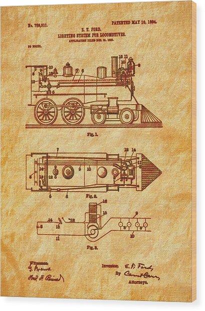 1904 Locomotive Patent Art-2 Wood Print