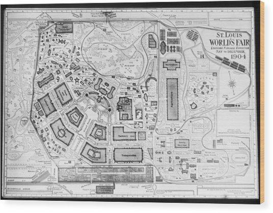 1904 Worlds Fair Fair Grounds Map Wood Print