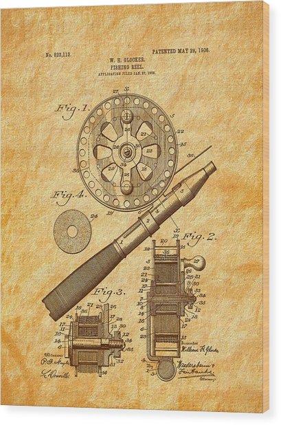 1906 Glocker Fishing Reel Patent Wood Print by Barry Jones