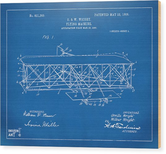 Wood Print featuring the digital art 1906 Wright Brothers Flying Machine Patent Blueprint by Nikki Marie Smith