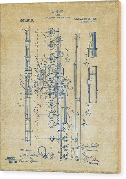 1908 Flute Patent - Vintage Wood Print