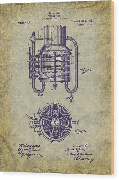 1909 Jett Whiskey Still Patent Wood Print