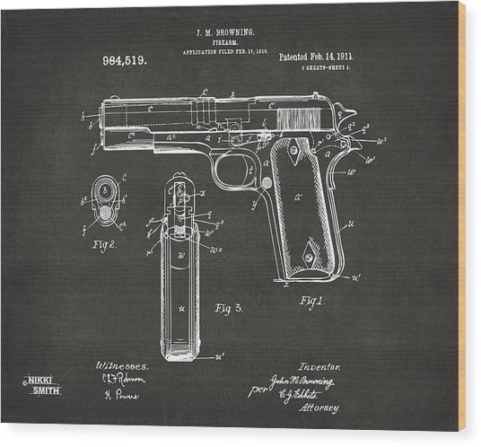 Wood Print featuring the digital art 1911 Browning Firearm Patent Artwork - Gray by Nikki Marie Smith