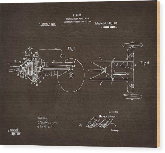 1911 Henry Ford Transmission Patent Espresso Wood Print