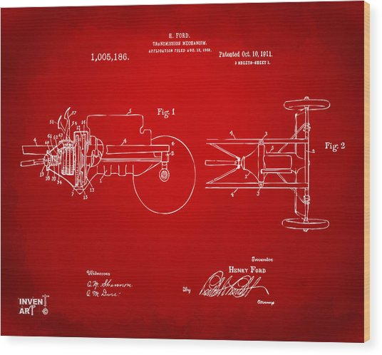1911 Henry Ford Transmission Patent Red Wood Print