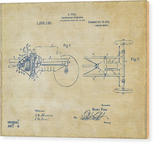 1911 Henry Ford Transmission Patent Vintage Wood Print