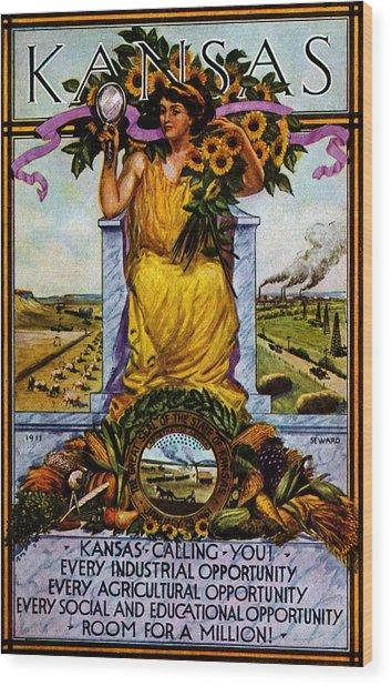1911 Kansas Poster Wood Print