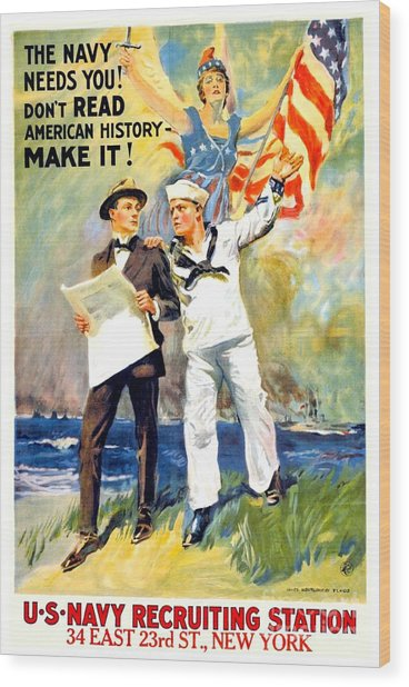 1917 - United States Navy Recruiting Poster - World War One - Color Wood Print