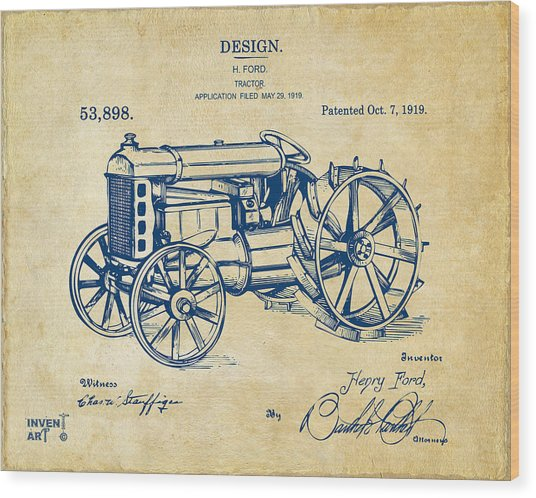 1919 Henry Ford Tractor Patent Vintage Wood Print