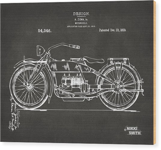 Wood Print featuring the digital art 1919 Motorcycle Patent Artwork - Gray by Nikki Marie Smith