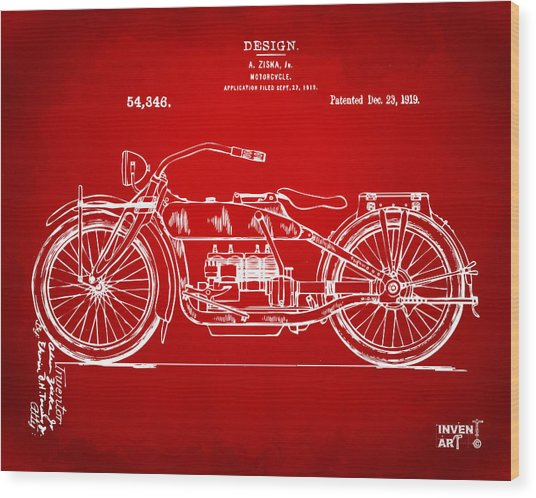 1919 Motorcycle Patent Red Wood Print