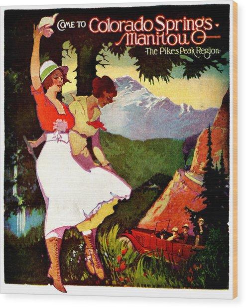 1919 Pikes Peak Colorado Poster Wood Print