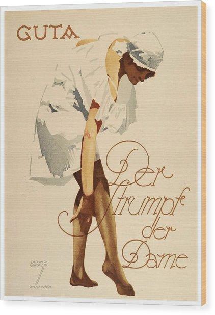 1920 - Guta Stockings Advertisement - Ludwig Hohlwein - Color Wood Print