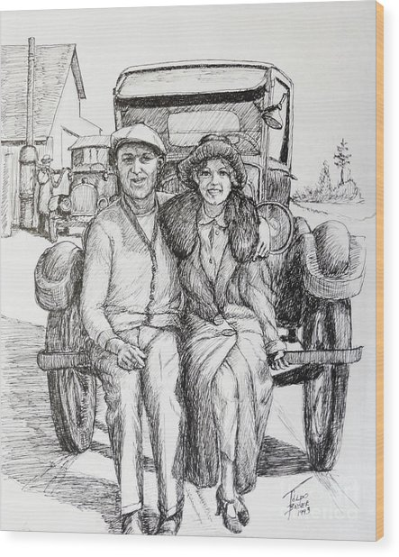 1920s Couple Wood Print