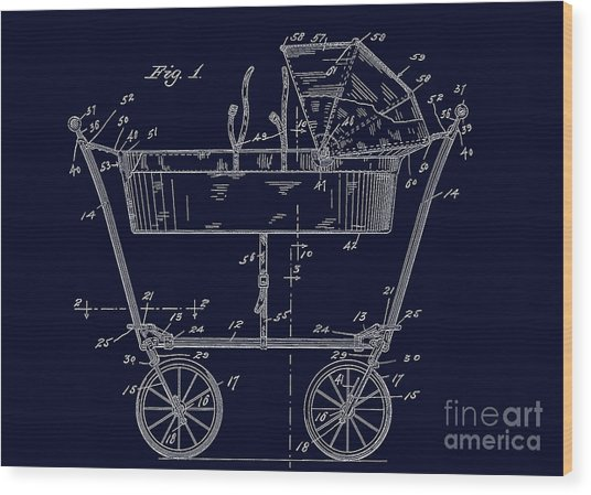 1922 Baby Carriage Patent Art Blueprint Wood Print