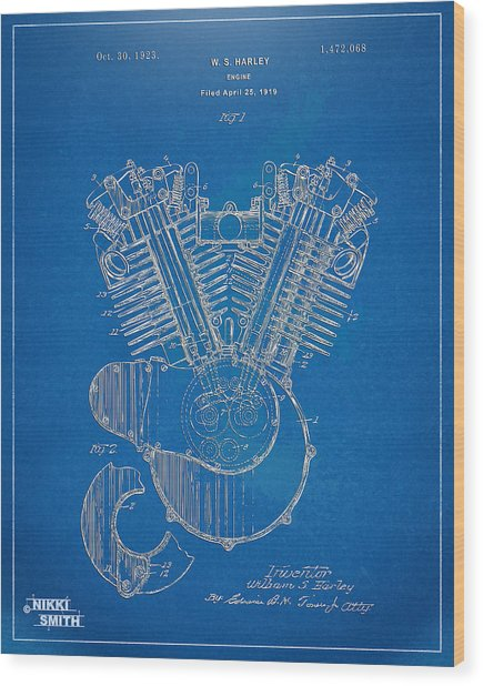 1923 Harley Davidson Engine Patent Artwork - Blueprint Wood Print