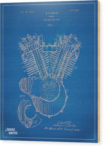 Wood Print featuring the digital art 1923 Harley Davidson Engine Patent Artwork - Blueprint by Nikki Smith