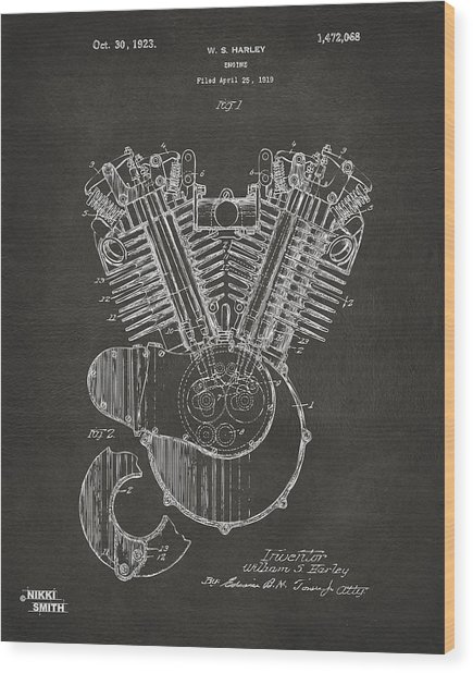 Wood Print featuring the digital art 1923 Harley Engine Patent Art - Gray by Nikki Marie Smith