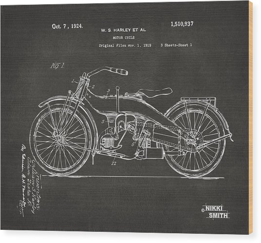 1924 Harley Motorcycle Patent Artwork - Gray Wood Print