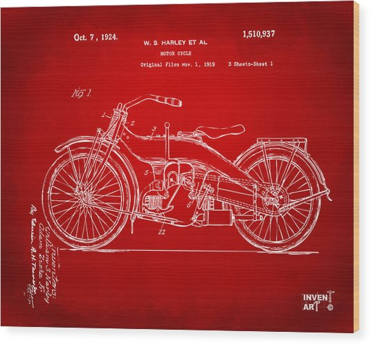 1924 Harley Motorcycle Patent Artwork Red Wood Print