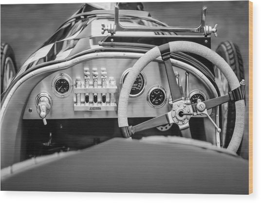 1925 Aston Martin 16 Valve Twin Cam Grand Prix Steering Wheel -0790bw Wood Print