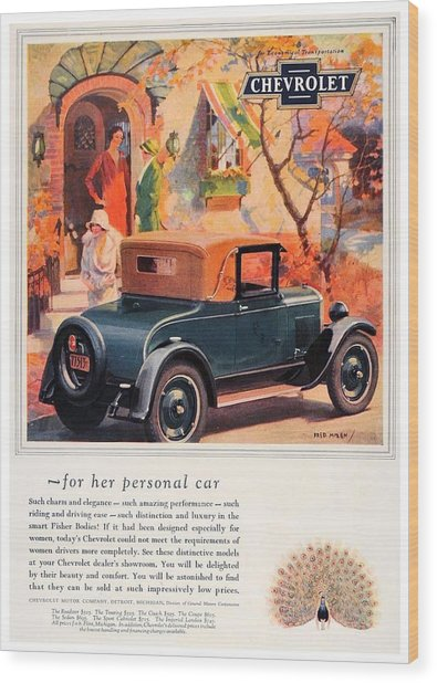 1927 - Chevrolet Advertisement - Color Wood Print
