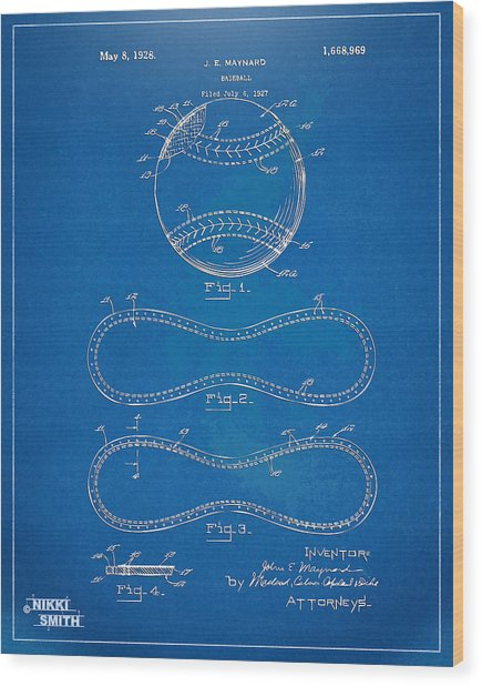 1928 Baseball Patent Artwork - Blueprint Wood Print