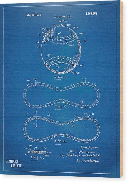Wood Print featuring the digital art 1928 Baseball Patent Artwork - Blueprint by Nikki Smith