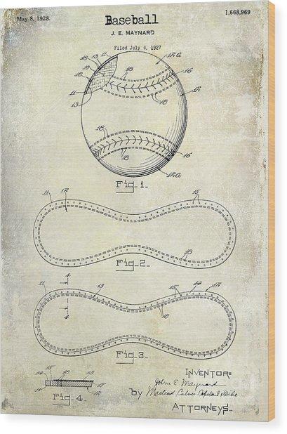 1928 Baseball Patent Drawing  Wood Print